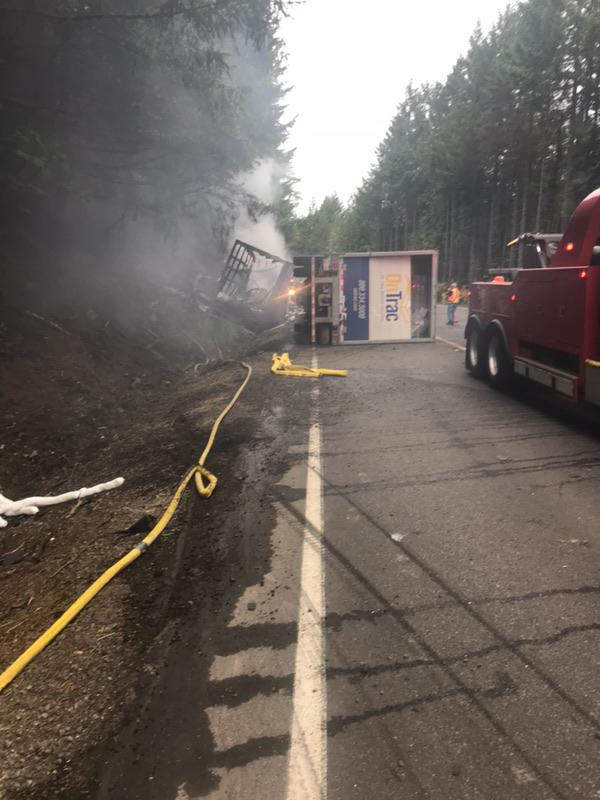 A fiery crash involving two semi trucks early Tuesday morning will likely keep one lane of Highway 58 closed for most of the day, the Oregon Department of Transportation said. (ODOT photo)