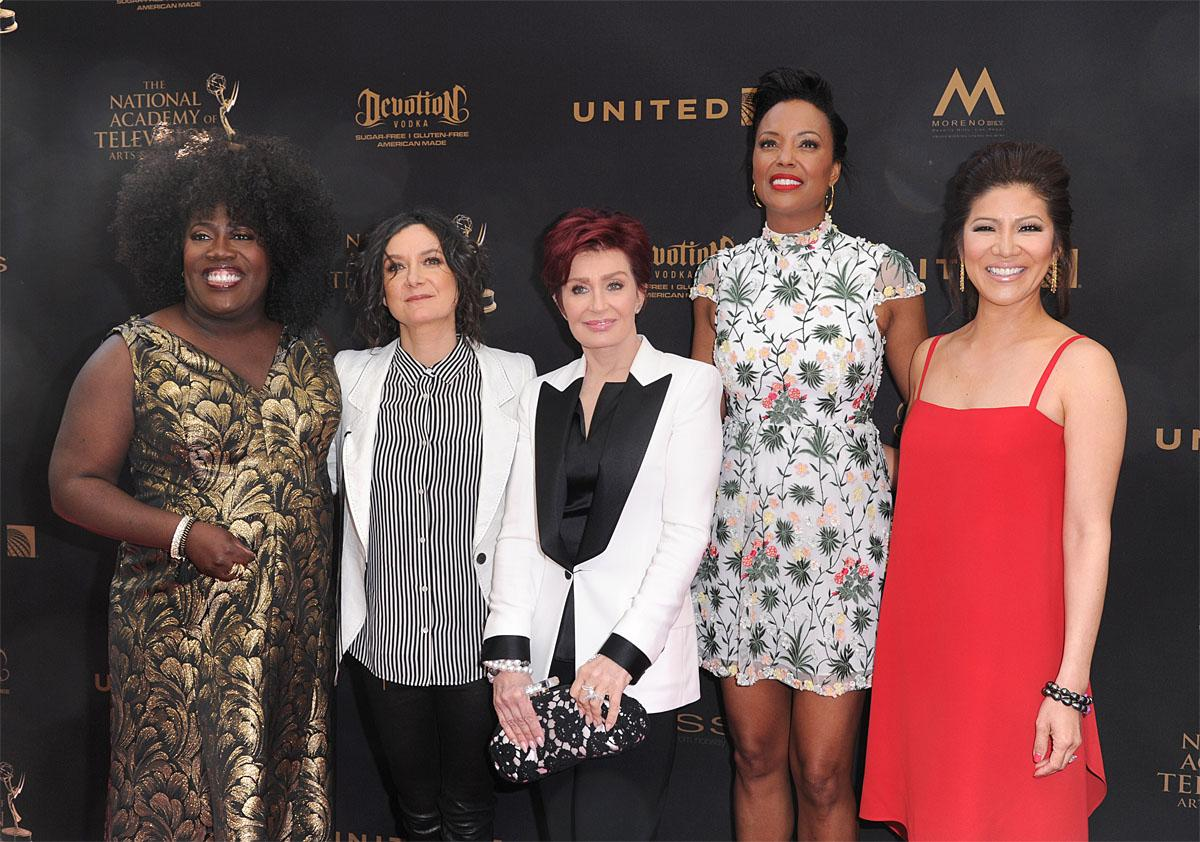 Sheryl Underwood, from left, Sara Gilbert, Sharon Osbourne, Aisha Tyler and Julie Chen arrive at the 43rd annual Daytime Emmy Awards at the Westin Bonaventure Hotel on Sunday, May 1, 2016, in Los Angeles. (Photo by Richard Shotwell/Invision/AP)