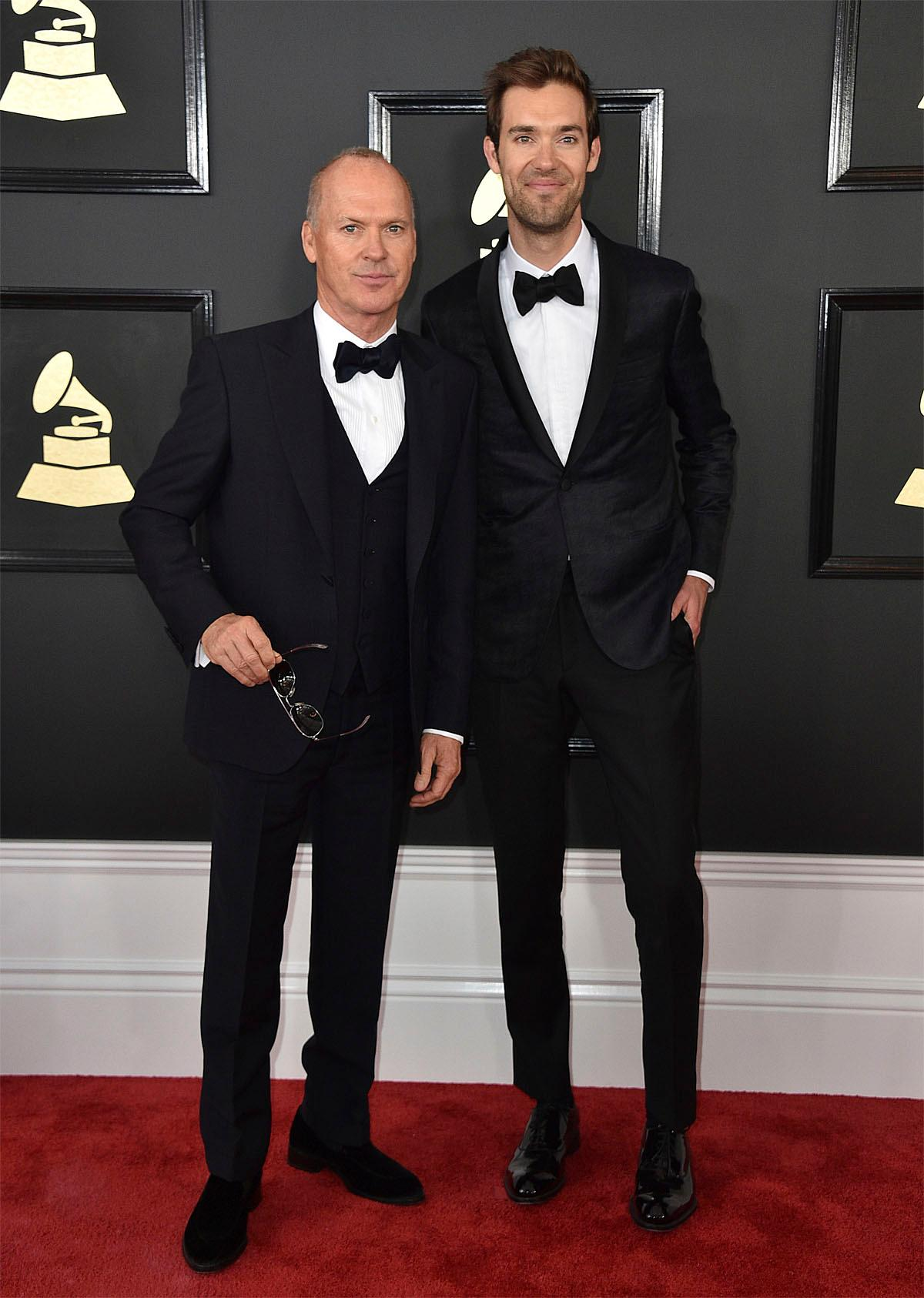 Michael Keaton, from left, and Sean Douglas arrive at the 59th annual Grammy Awards at the Staples Center on Sunday, Feb. 12, 2017, in Los Angeles. (Photo by Jordan Strauss/Invision/AP)