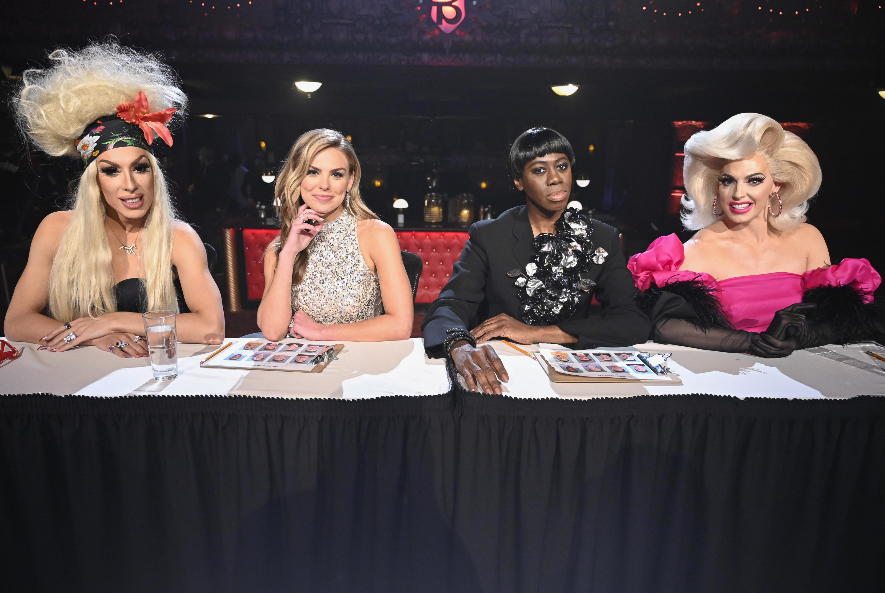 "Hannah's search for love is anything but a drag when she's joined by world famous drag queens Alaska and Alyssa Edwards, and renowned runway coach Miss J. Alexander from ""America's Next Top Model."" (Image: John Fleenor/ ABC)"