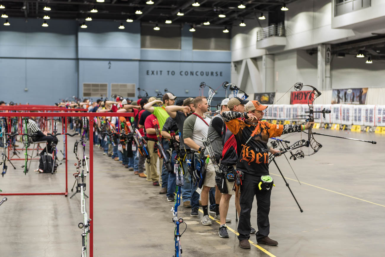The National Field Archery Association (NFAA) presented the second phase of their 19th Annual 3 Star Tour of the NFAA Indoor Nationals at the Duke Energy Convention Center the weekend of March 15-17, 2019. NFAA and USA Archery members vied for the top spot, shooting the NFAA single-spot or five-spot (based on the archer's preference) blue and white face target. / Image: Mike Menke // Published: 3.18.19
