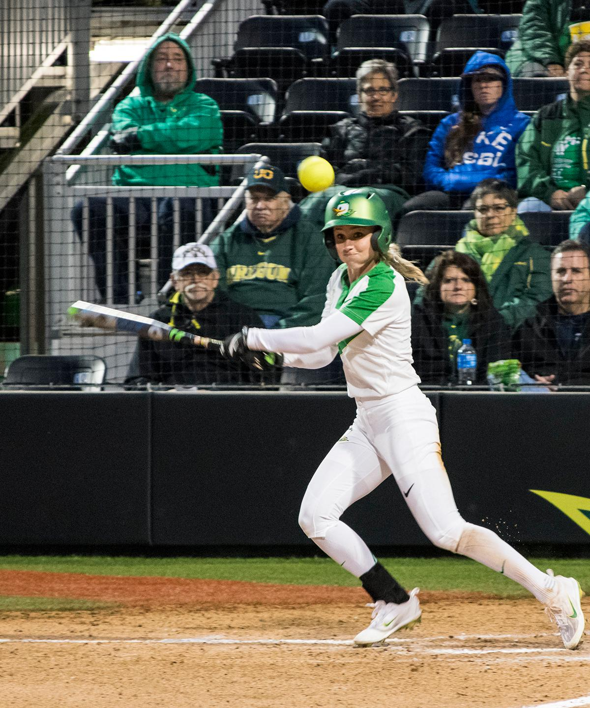 Oregon Ducks infielder Alexis Mack (#10) readies up to hit the ball against the California Golden Bears. The first of a three game series the Oregon Ducks defeated the California Golden Bears five to one. Photo by Kezia Setyawan, Oregon News Lab