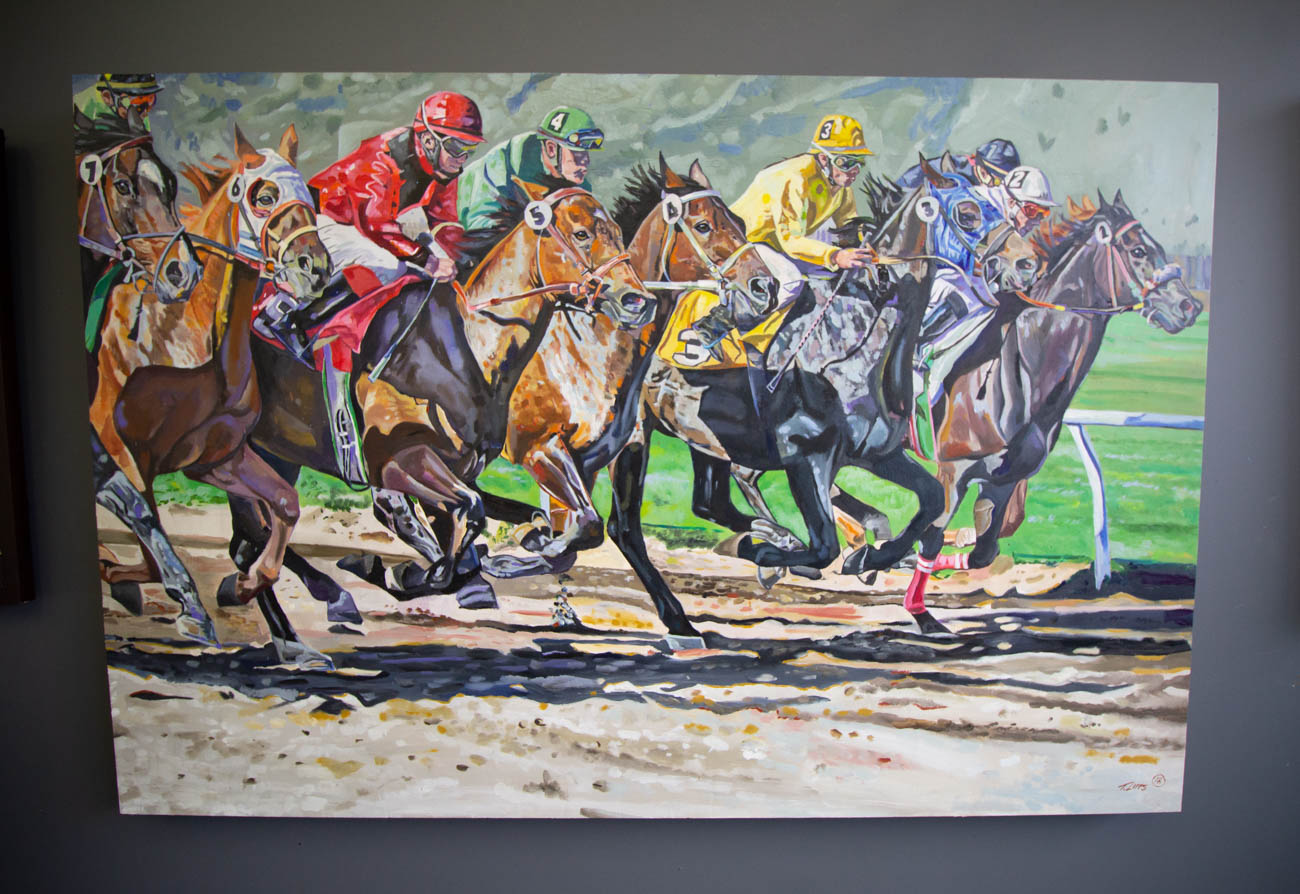 'Horse Race' is Tony's largest painting to-date. It took him 150 hours to complete. / Image: Katie Robinson, Cincinnati Refined // Published: 2.16.20