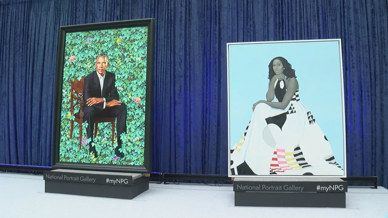 National Portrait Gallery unveils Obama portraits (Mike Carter-Conneen/ABC7)
