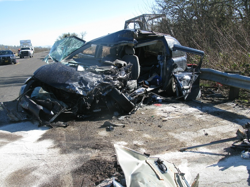 A Veneta woman died and 4 people were injured when a Springfield man's pickup rear-ended a car as traffic slowed on Highway 126 west of Eugene, sending the pickup into oncoming traffic where it hit a minivan nearly head-on, Oregon State Police said. (OSP)