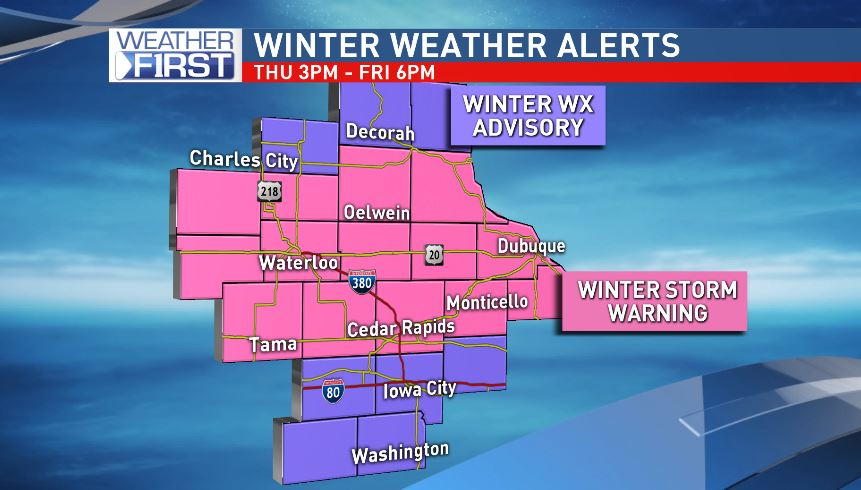 Winter Weather Advisories and Winter Storm Warnings are in effect until Friday evening.<p></p>