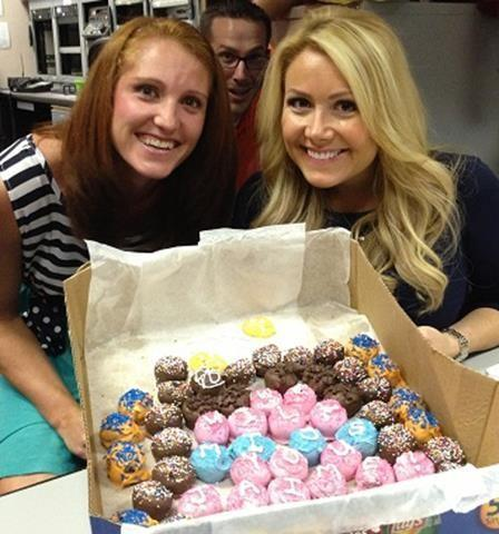 One of Jaime's favorite things were cake balls made my our producer, Stefanie.Our executive producer James chose that moment to photobomb.