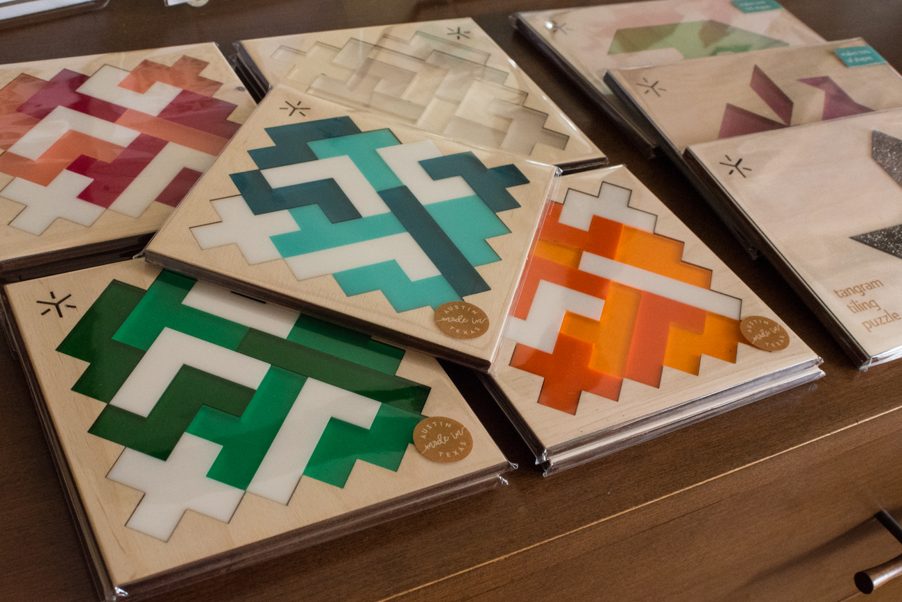 Acrylic/wood pentomino puzzles by Bright Beam Goods / Image: Phil Armstrong, Cincinnati Refined / Published: 11.12.16