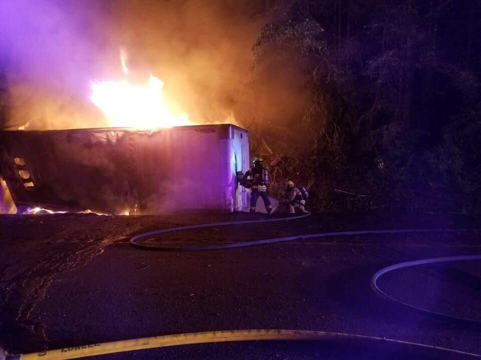 A fiery crash involving two semi trucks early Tuesday morning will likely keep one lane of Highway 58 closed for most of the day, the Oregon Department of Transportation said. (Oakridge Fire photo)