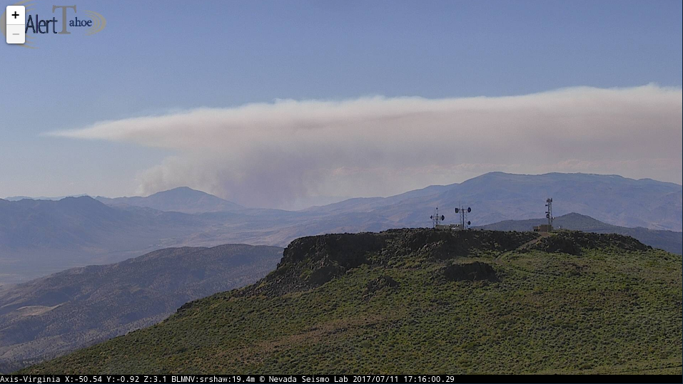 Smoke from a wildfire in Lassen County, California can be seen from the Virginia Peak fire camera on Tuesday, July 11, 2017 (Image: AlertTahoe / Nevada Seismological Lab)