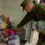 Marines collecting for Toys for Tots before Bengals game