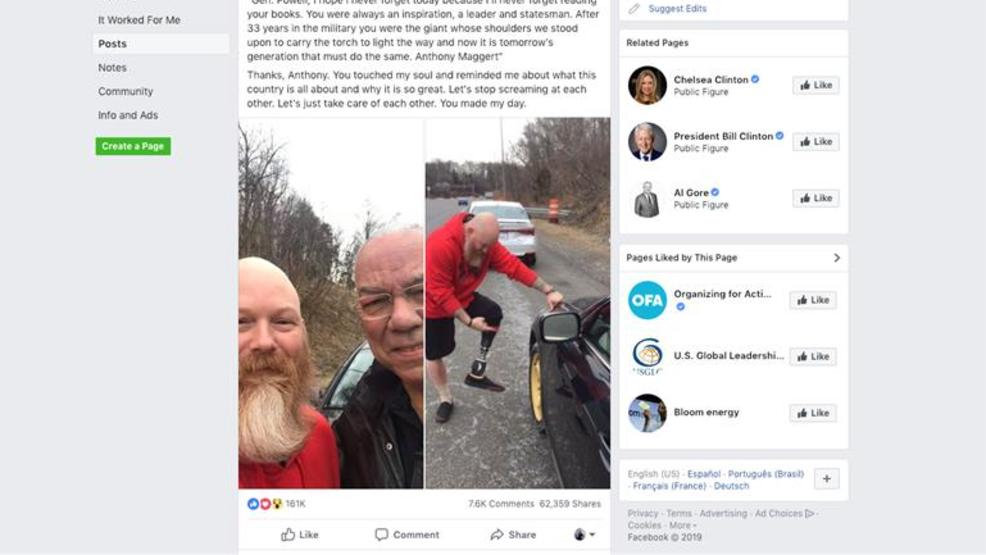 Veteran who lost leg in Afghanistan helps change Colin Powell's tire on Capital Beltway