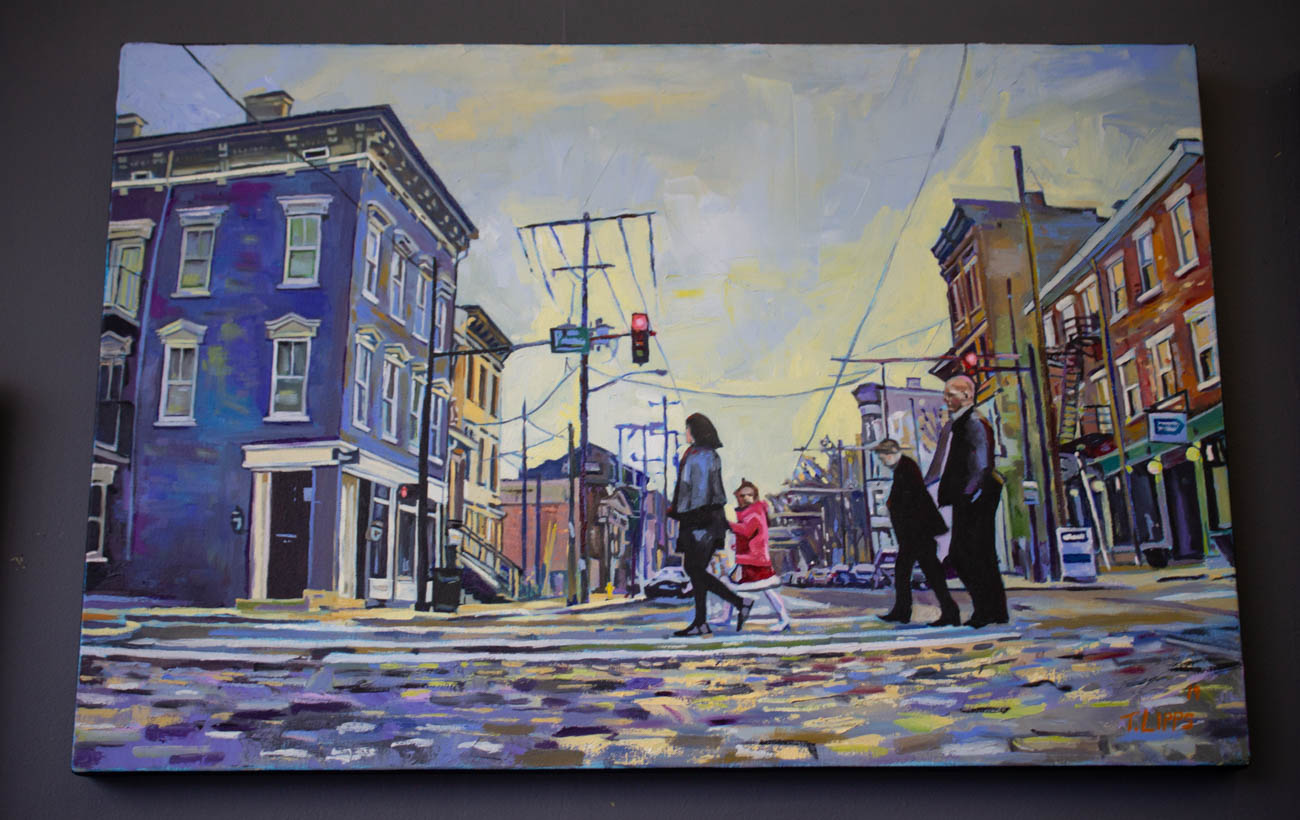 One of Tony's favorite paintings features a shot of a little girl crossing the street at the corner of 14th and Elm Streets where the girl is the only one looking directly at the camera, making her the focus of the end piece. It was created with the help of a GoPro attached to his friend's truck bumper that he drove through the city, capturing plenty of in-the-moment footage. / Image: Katie Robinson, Cincinnati Refined // Published: 2.16.20
