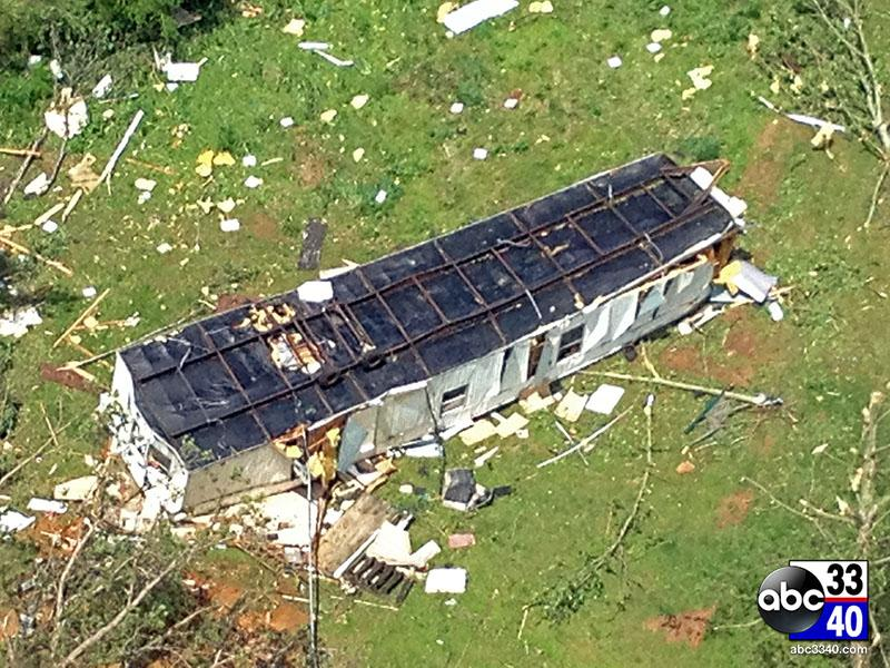 Aerial view of the storm damage in Graysvillle, Ala., Tuesday, April 29, 2014.