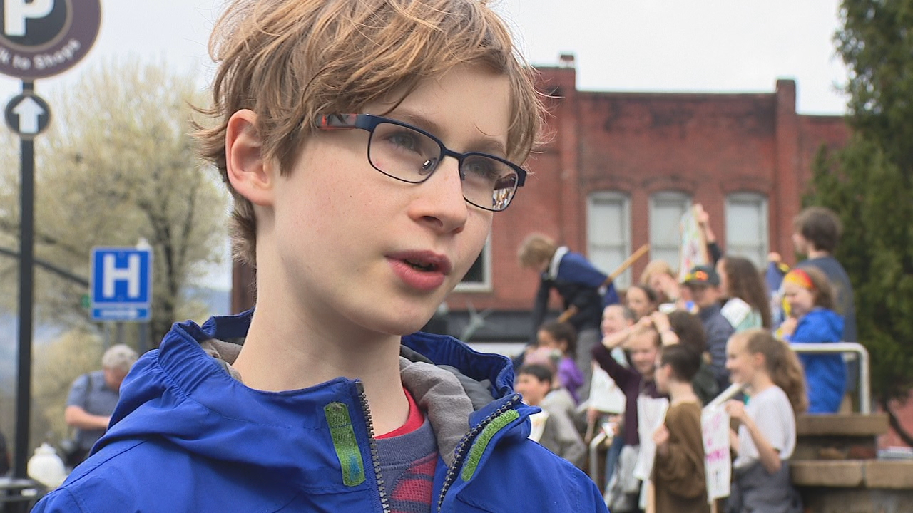 Mountain Sun Community School students in Brevard marched out of class at noon Friday. (Photo credit: WLOS)