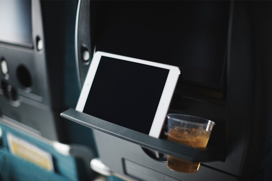 In addition to comfort perks, every seat comes equipped with special storage and stands to prop up portable devices.{ }(Image: Courtesy Cathay Pacific)
