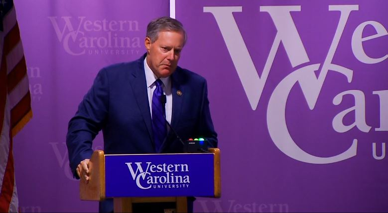 A debate between incumbent Mark Meadows (pictured) and challenger Rick Bryson takes place in room 204 in the Health & Human Sciences Building on the WCU campus on Sept. 23, 2016. (Photo credit: WLOS staff)