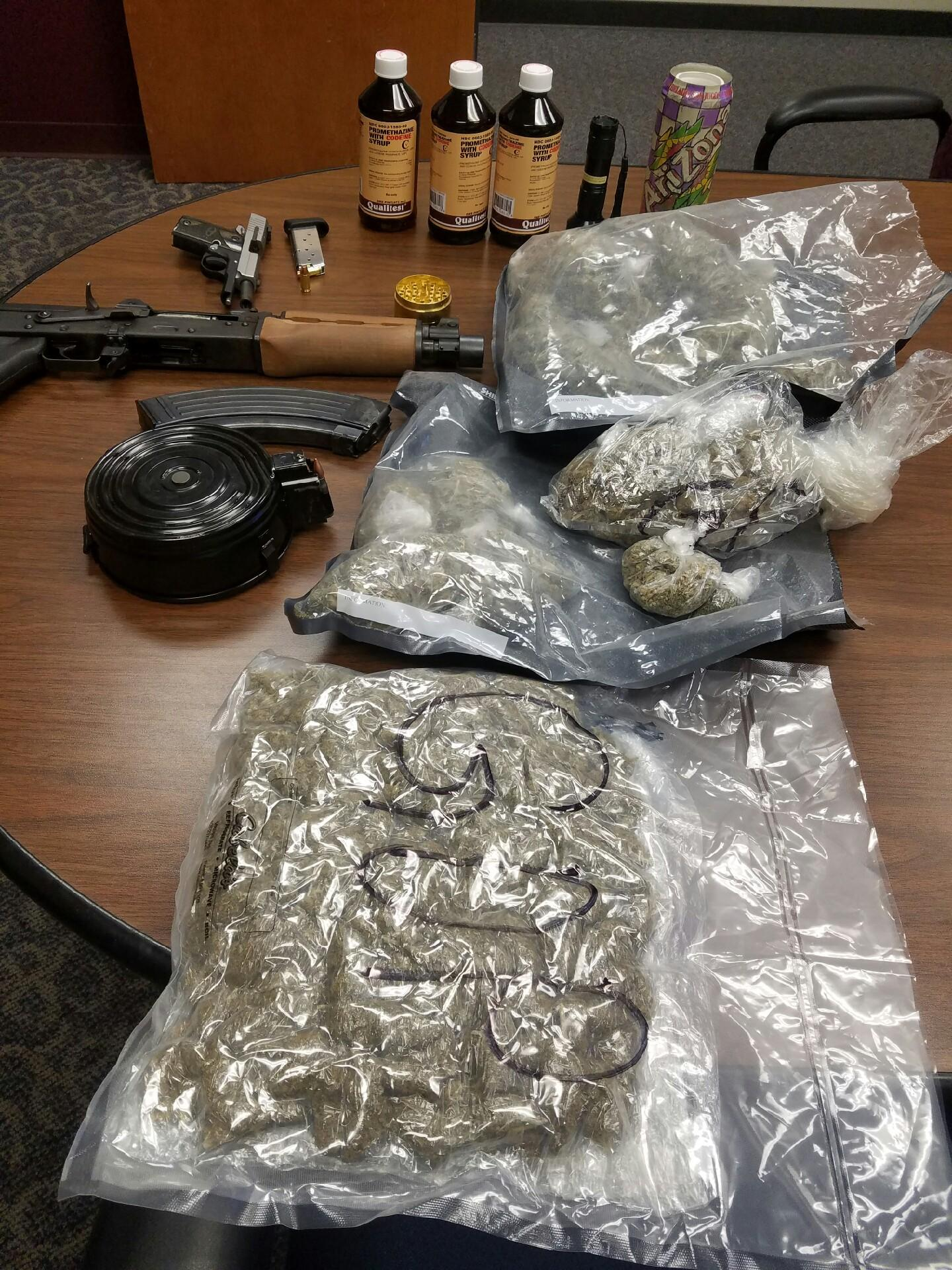 "Three men were arrested Thursday on various drug possession charges after Jefferson County Sheriff's deputies say they found 2.5 pounds of ""hydro"" marijuana, 120 grams of liquid promethazine and 40 ecstasy pills, the agency announced Friday in a news release. (Photo provided by the Jefferson County Sheriff's Office)"