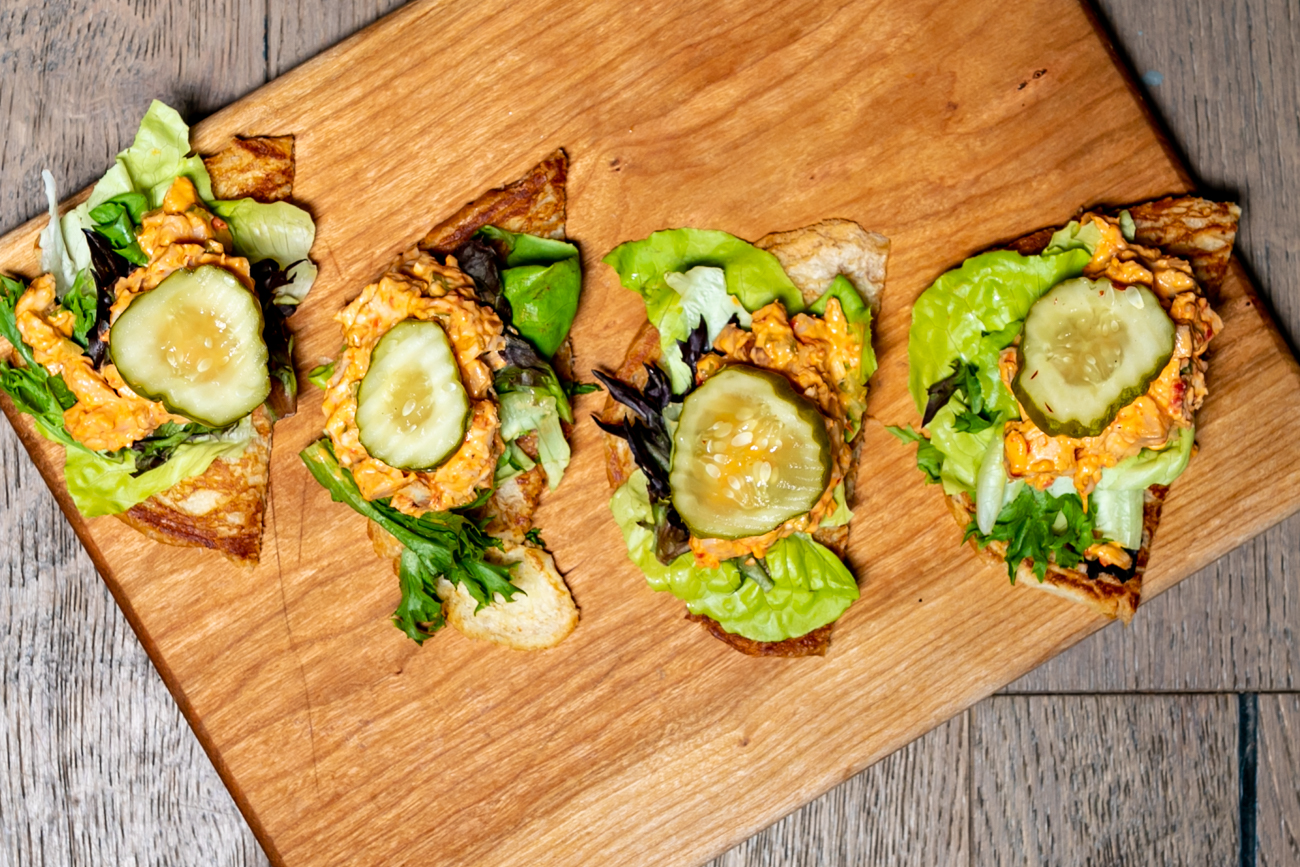 Pimento cheese chicken salad: pickle and mixed greens on a croissant crostini / Image: Amy Elisabeth Spasoff // Published: 9.23.18