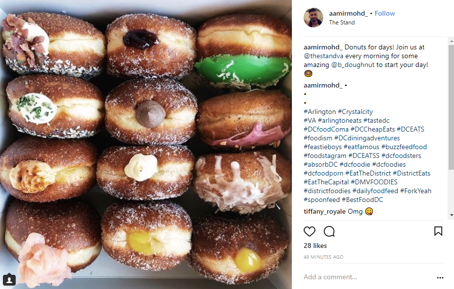 Image: IG user: @aamirmohd_ // Post: Donuts for days! Join us at @thestandva every morning for some amazing @b_doughnut to start your day! // Published: 3.28.18