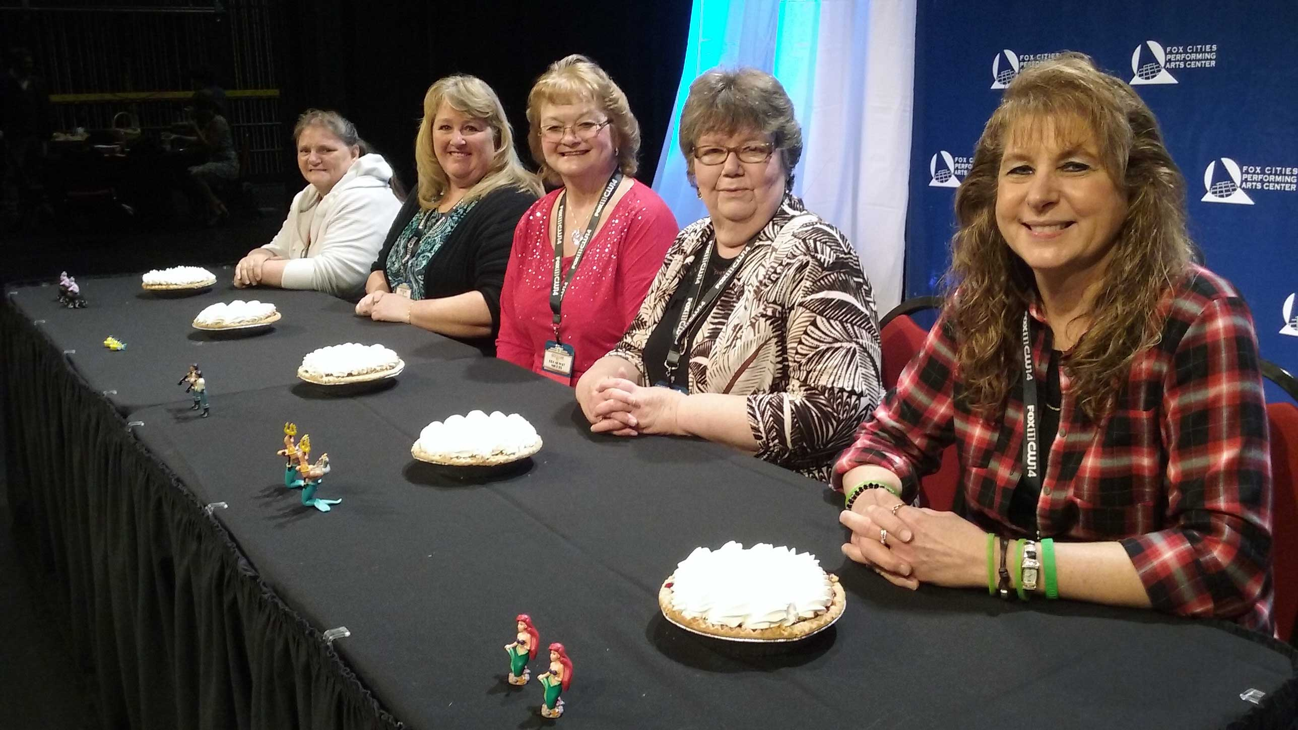 L-R: Good Day Wisconsin Broadway Nights finalists Marilyn Miller, Coree Wallander, Jill Bowers, Helen Raddant and Coreen Jorgensen pose before digging into their pies April 13, 2017, at the Fox Cities Performing Arts Center in Appleton. (WLUK/Kimberly Krejcarek)