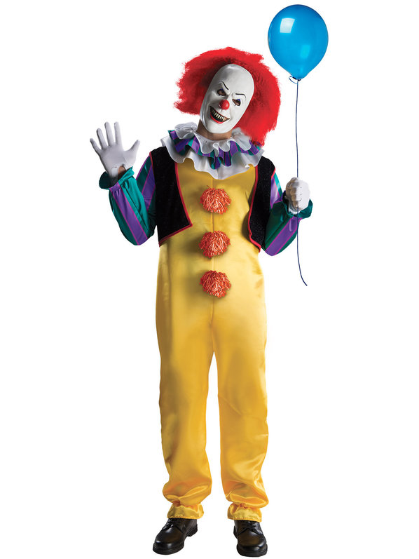 Pennywise. Strike fear in the hearts of Halloween lovers with a Pennywise clown outfit. The evil clown from IT is sure to create fright on a frightfully fun night. { }This is one costume that is sure to create a stir!{ }(Image: CostumeSupercenter.com)