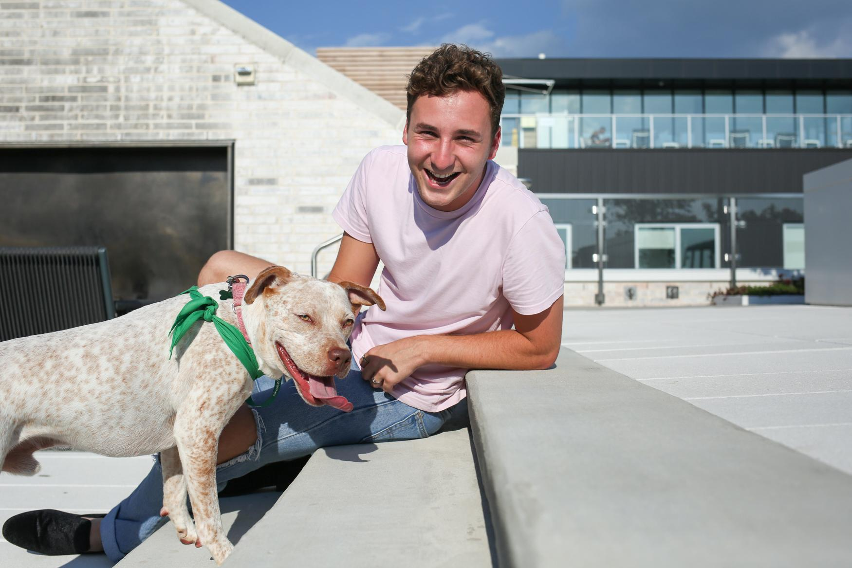 Meet Tony and Nicholas, a two-year-old Pointer mix and a 22-year-old human, respectively.{ } Photo location: 880 P apartments (Image: Amanda Andrade-Rhoades/ DC Refined)