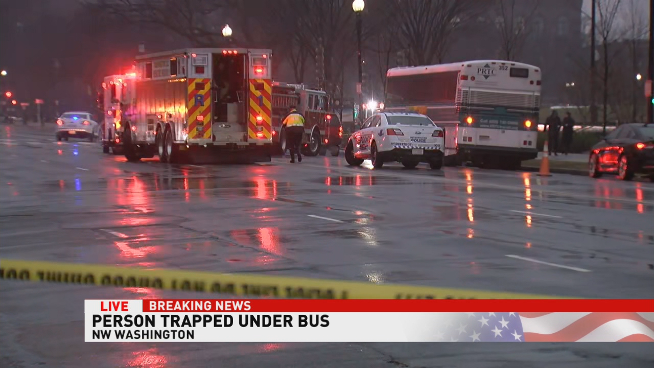 Police: Man dead after being trapped under rear wheels of bus in NW DC (ABC7)