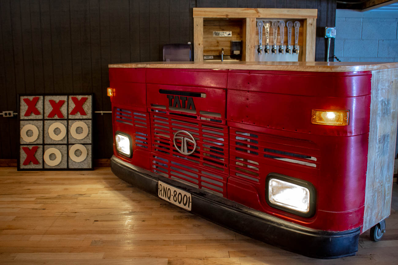 The front of a former bus from India was transformed into a bar in the second floor space of the brewery. / Image: Katie Robinson, Cincinnati Refined // Published: 7.22.19