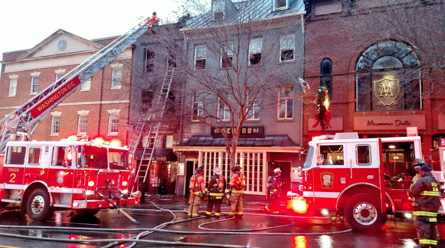 DC firefighters battle early morning fire in Northwest on Friday, Dec. 15, 2017. (Photo courtesy of DC Fire & EMS)