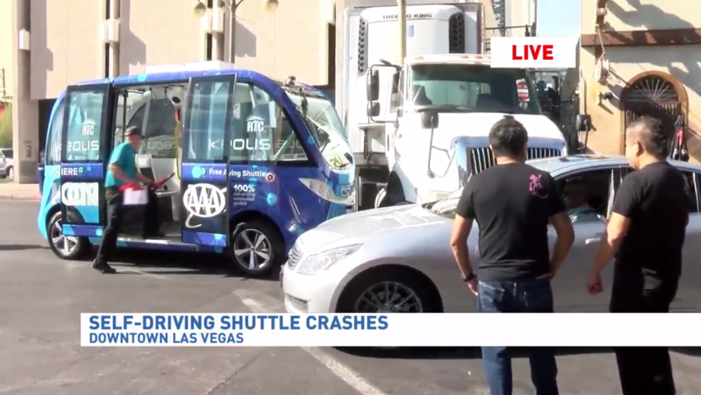 Driverless shuttle involved in crash on first day of service in downtown Las Vegas