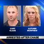 Two arrested after three-county police chase