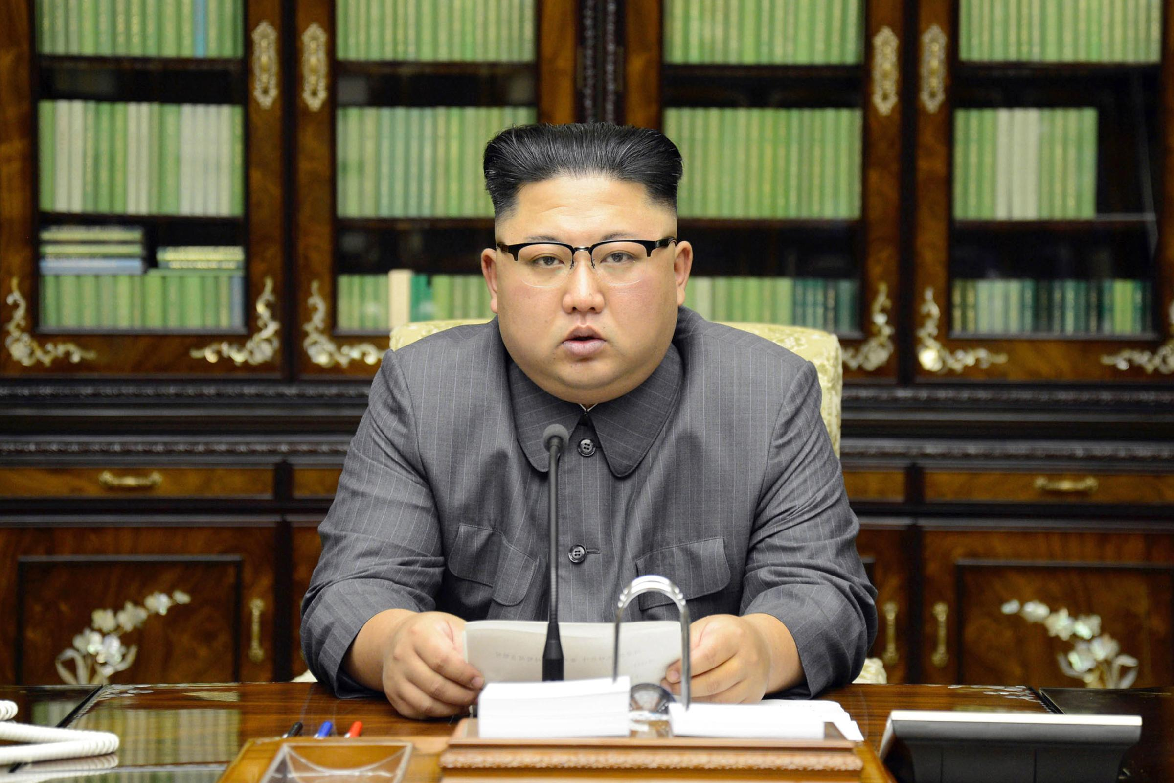 In this Thursday, Sept. 21, 2017, photo distributed on Friday, Sept. 22, 2017, by the North Korean government, North Korean leader Kim Jong Un delivers a statement in response to U.S. President Donald Trump's speech to the United Nations, in Pyongyang, North Korea. (Korean Central News Agency/Korea News Service via AP)