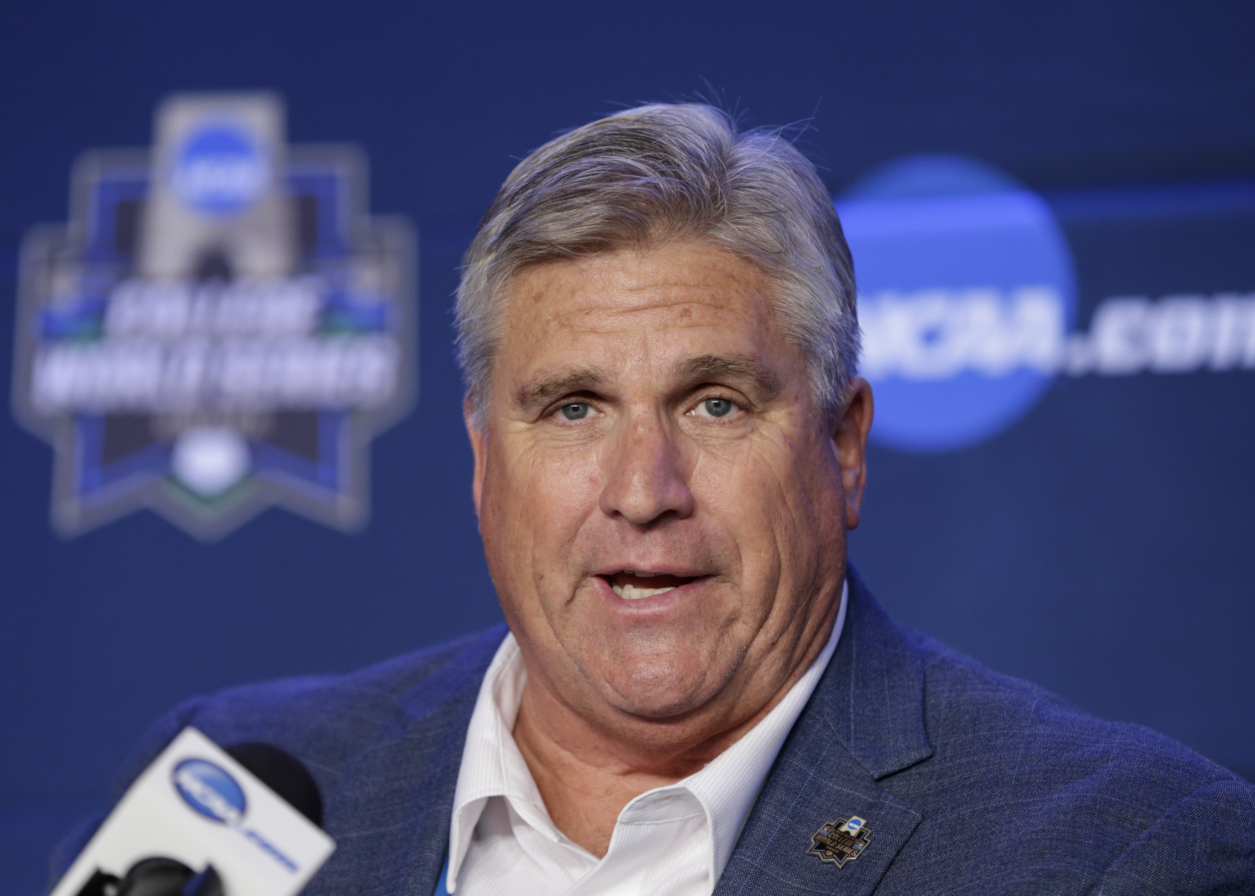 Ron Prettyman, NCAA's managing director of champions and alliances, speaks during a news conference in Omaha, Neb., Friday, June 16, 2017. Prettyman said in an interview with the Associated Press that the NCAA had no input on whether Oregon State's Luke Heimlich should participate or be with the NCAA college baseball team in Omaha. Last week it was revealed that when Heimlich was a teenager he pleaded guilty to molesting a 6-year-old girl. (AP Photo/Nati Harnik)