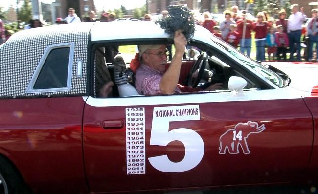 Custom Alabama themed car in the BCS National Championship parade on Saturday, January 19, 2013.