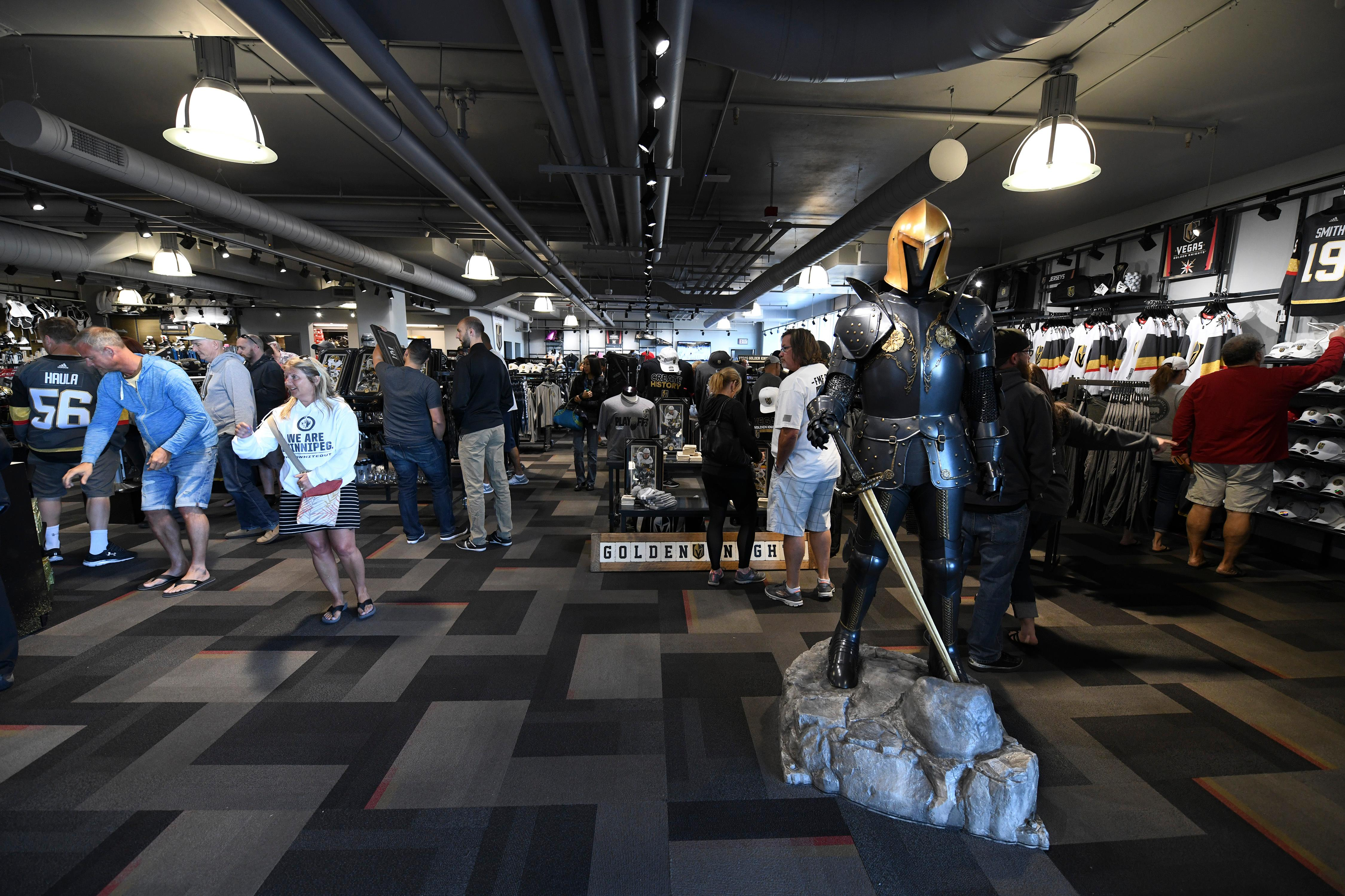 Fans shop in The Arsenal, the Vegas Golden Knights gift shop, Friday, April 20, 2018, at City National Arena in Las Vegas. CREDIT: Sam Morris/Las Vegas News Bureau