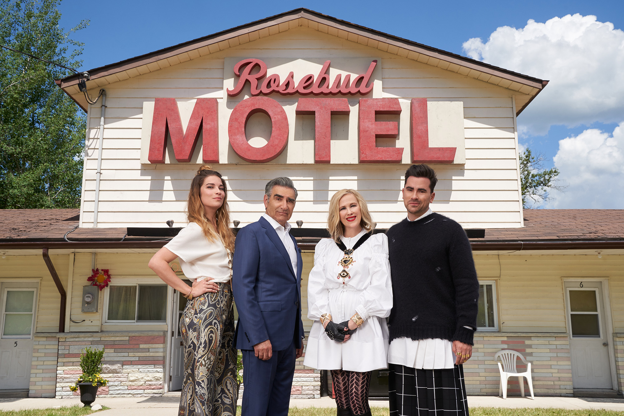 Schitt's Creek sweeps the Emmys, and heads to CW 14. Catch the Canadian-original weeknights at 10:30 (Courtesy: @SchittsCreek, Twitter)