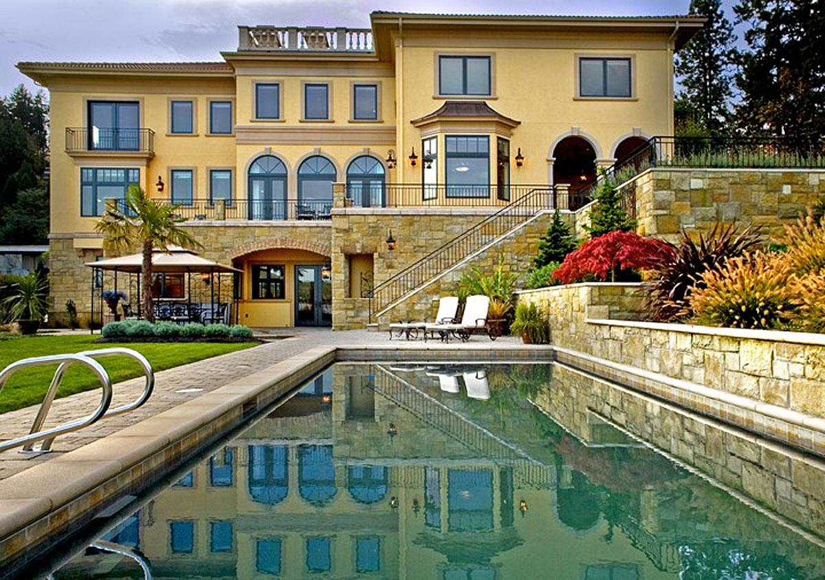 This Sammamish Tuscan project in Sammamish was completed by Gelotte Hommas, and cost (house remodel included) $7.5 million.   (Image: Sammamish Tuscan / Porch.com)