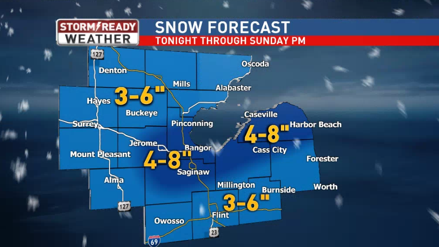 Snowfall forecast for mid-Michigan<p></p>