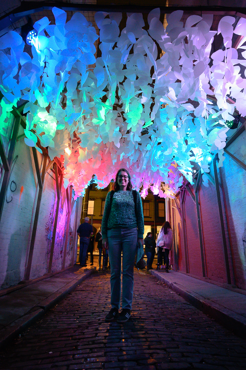 PICTURED NEIGHBORHOOD: Over-the-Rhine / Sellew Alley a half-block north of Findlay Market has an amazing, colorful hanging feature that rustles in the wind while the sounds of crickets plays. / Image: Phil Armstrong // Published: 10.12.19
