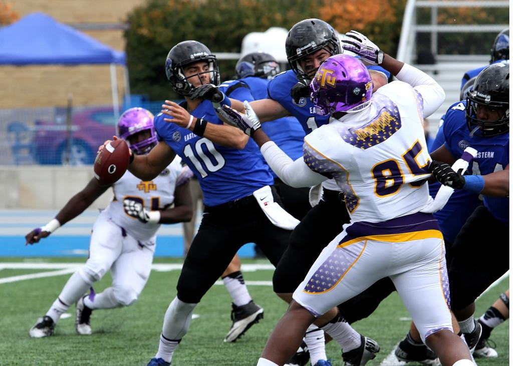 At Eastern Illinois, Garropolo set Ohio Valley Conference records with 1,047 pass completions for 13,151 yards and 118 touchdowns. He was selected by the Patriots in the second round (62nd overall) of the 2014 NFL Draft — four rounds higher than Tom Brady. (Photo courtesy EIU Athletics)