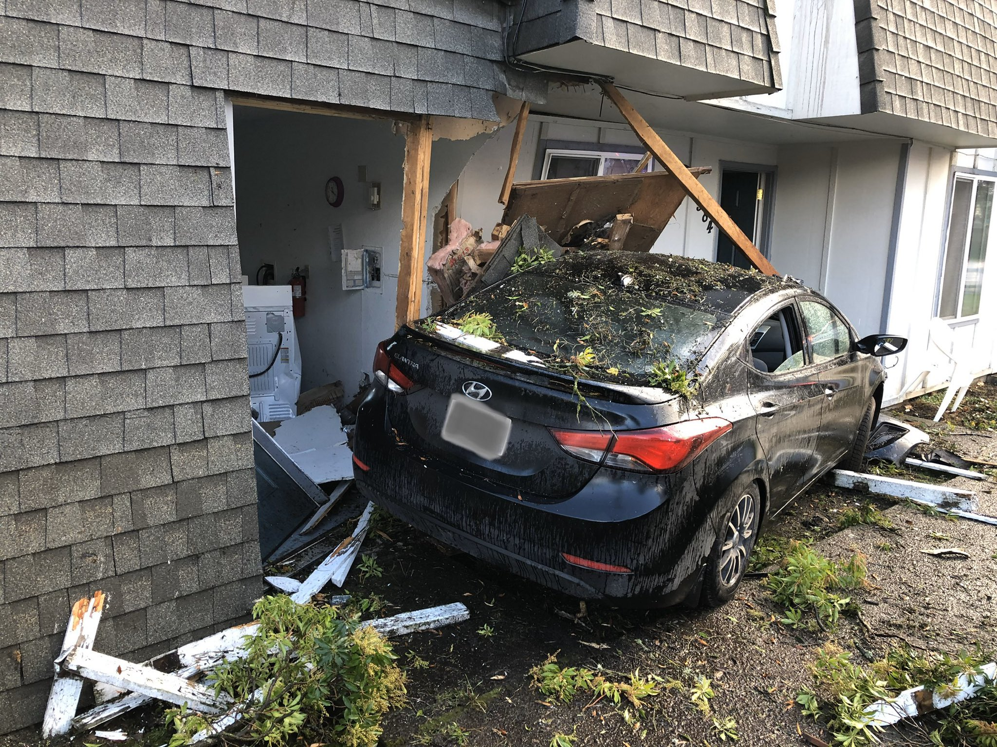 A driver crashed into an apartment in Southeast Portland on Jan. 1, 2020. Photo courtesy Clackamas County Sheriff's Office