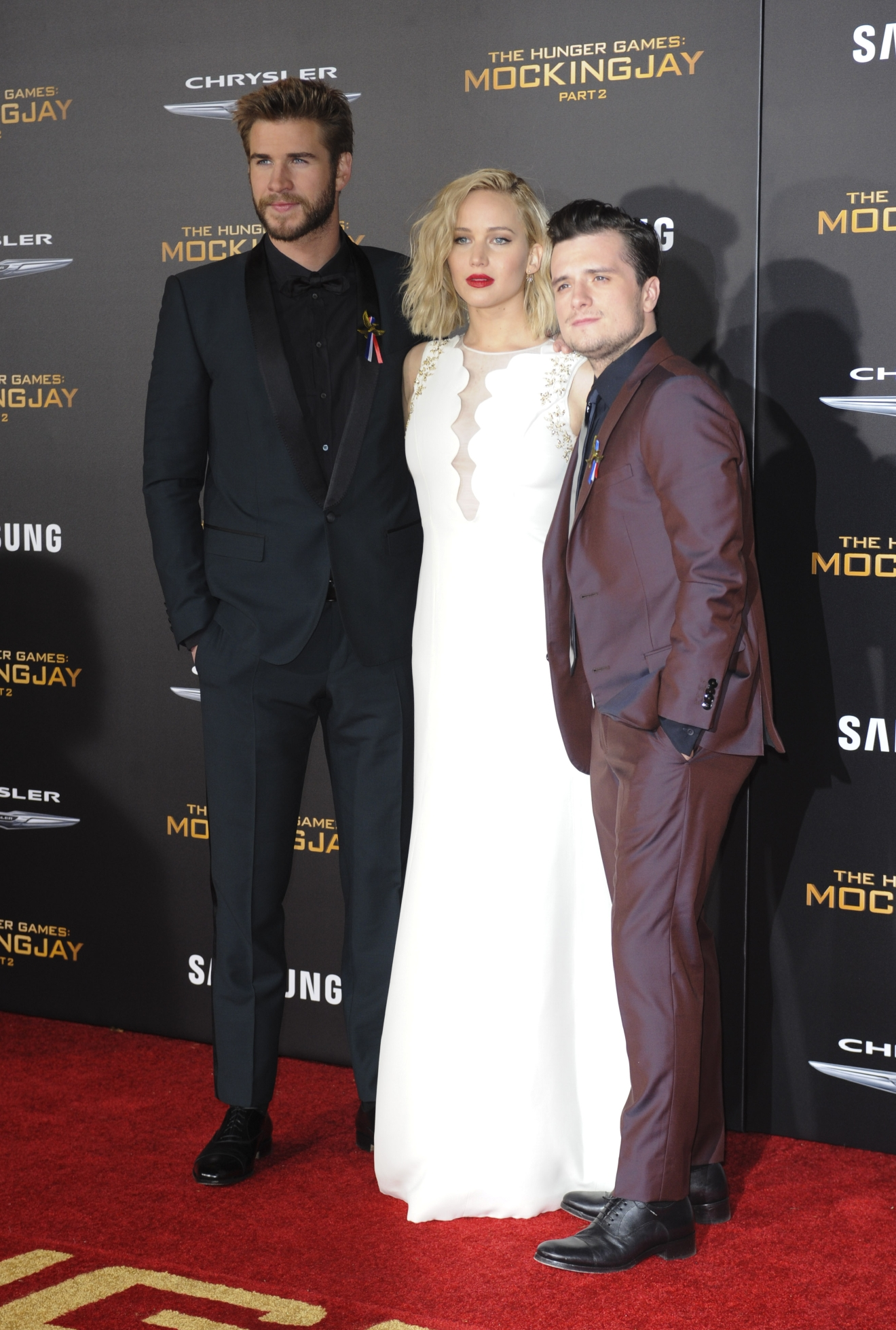 The Hunger Games Mockingjay 2  Featuring: Liam Hemsworth, Jennifer Lawrence, Josh Hutcherson Where: Los Angeles, California, United States When: 17 Nov 2015 Credit: Apega/WENN.com