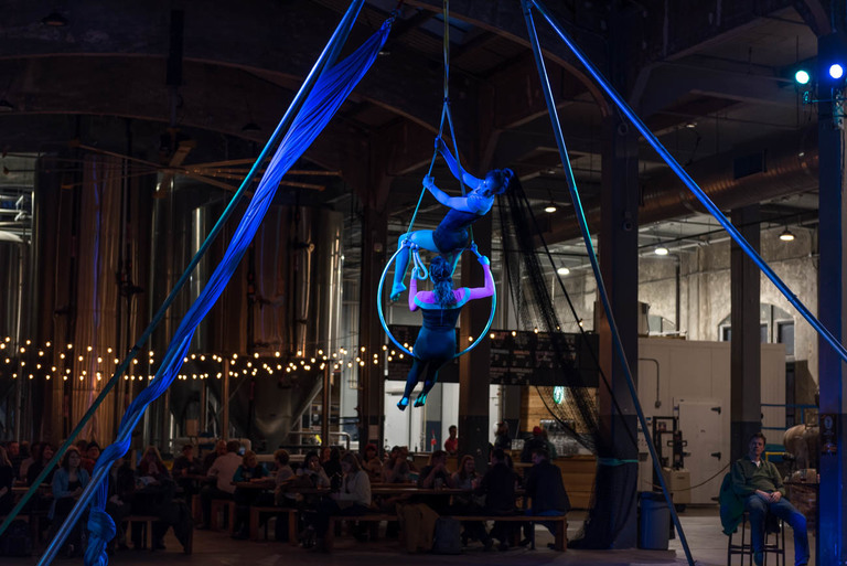 MOVE, a free acrobatic and dance-centric event featuring performances by the Cincinnati Circus Company and others, took place on Thursday, January 18 at Rhinegeist Brewery. A portion of beer sales benefitted Mission2Move, a local nonprofit dedicated to teaching students proper nutrition and exercise. / Image: Mike Menke // Published: 1.19.18