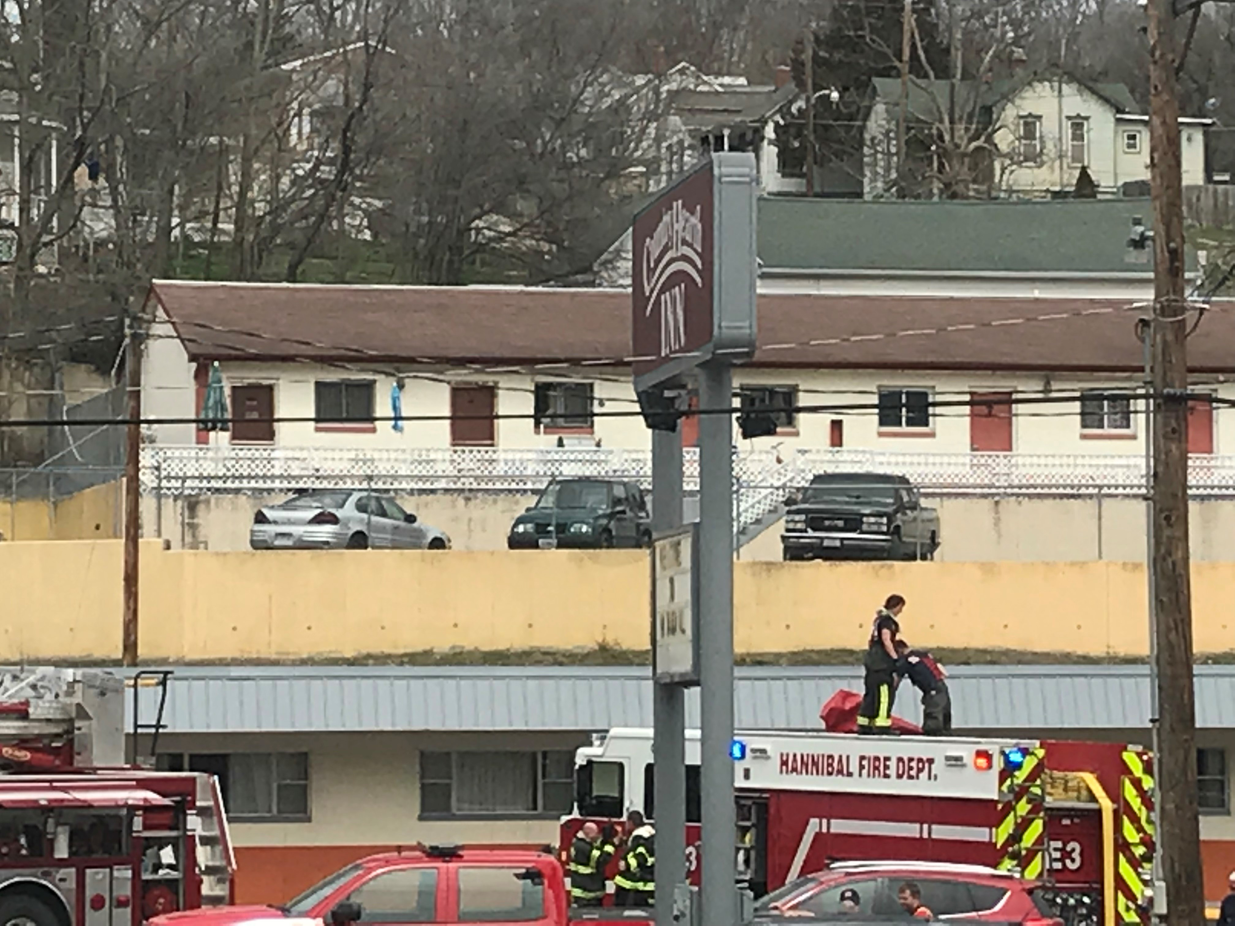 Firefighters responded to the Country Hearth Inn on Mark Twain Avenue shortly before 1 p.m. Wednesday