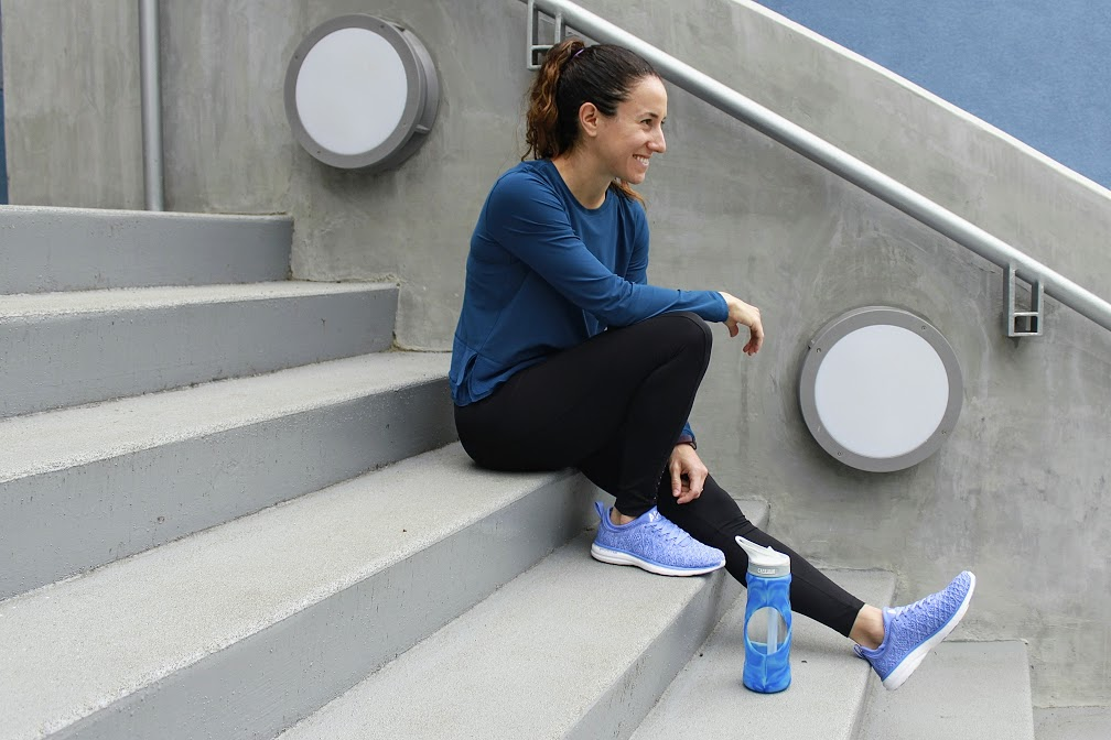 All you need for this workout is a long set of stairs. The longer the staircase you can find, the more you'll get out of this workout. (Image: Amanda Shapin)