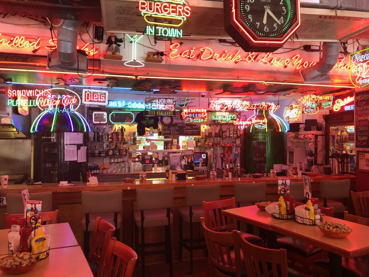 "PLACE: Terry's Turf Club / ADDRESS: 4618 Eastern Avenue (Linwood) / EPISODE: Season 9, Episode 6: ""Grilled, Smoked and Sauced"" / Although Terry's Turf Club came under new ownership in 2019, their menu and recipes remain the same. Stop by this local Linwood joint for a hearty bowl of filet mignon chili and the aptly named ""Fieri Burger"" topped with the restaurant's one-of-a-kind Burgundy wine sauce. / Image courtesy of Terry's Turf Club // Published: 8.18.19"