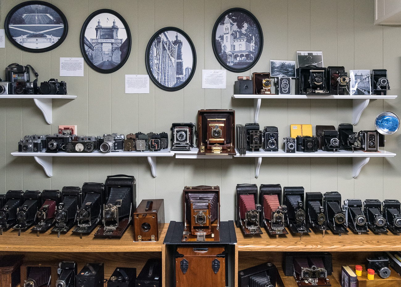 Tim Jeffries is a local photographer with over 45 years of experience using film and digital cameras. Inside his East Side home, he's amassed an impressive collection of around 175 vintage cameras that date from 1896 to 1980. The collection has been built over the course of five years and is largely funded by Tim's part time gig shooting weddings. / Image: Phil Armstrong, Cincinnati Refined // Published: 2.25.19