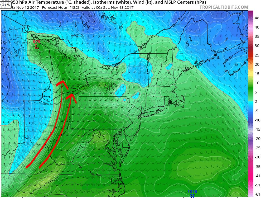 Wind pattern at the 850mb level of the atmosphere (roughly 4500-5000 feet)for Saturday<p></p>