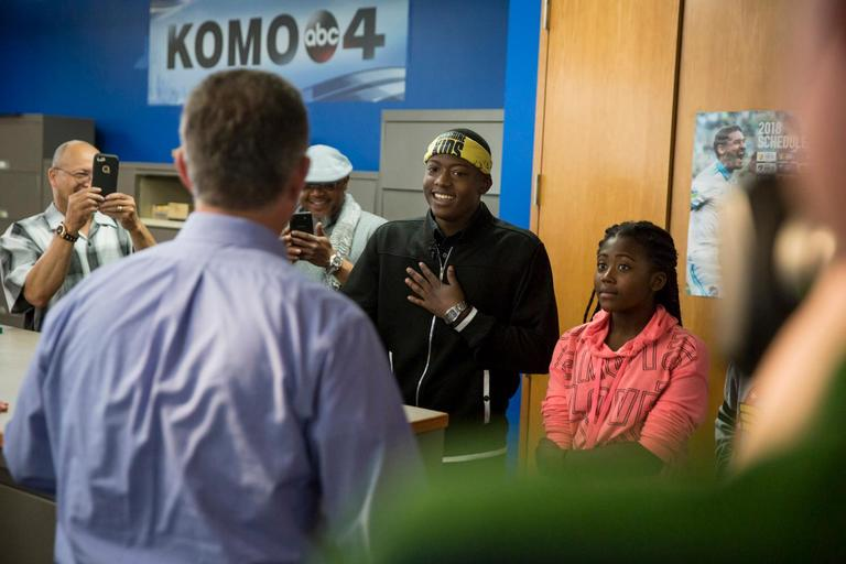 Decatur High School student Kahlel Young had a dream come true today as he visited the KOMO News team as part of the Make A Wish Washington and Alaska Foundation and delivered a sports cast with guidance from KOMO's Mike Ferreri. Young is battling cancer and isn't allowed to place football in his senior year, and said if he doesn't make it to the NFL, he wants to be a sportscaster. His day was made even more special with special appearances by Seahawks Hall of Famer Walter Jones, and Kicker and all time Seahawks scoring leader Norm Johnson. (Sy Bean / Seattle Refined)